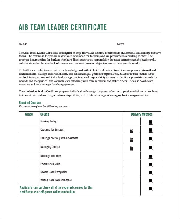 team leader certification template free download