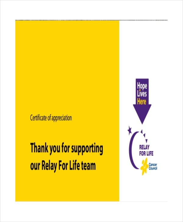team appreciation certificate