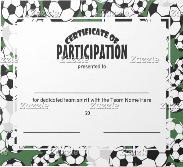 team participation certificate template