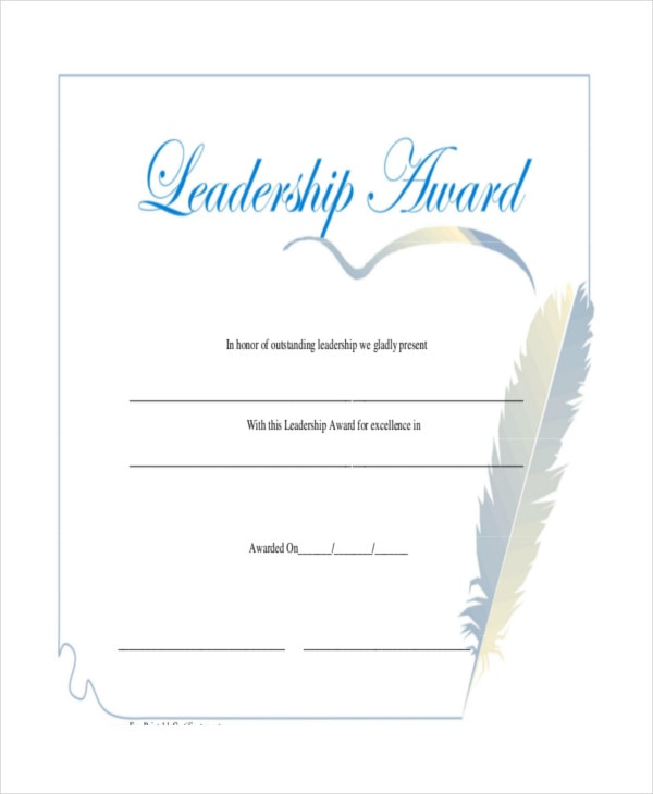 leadership award certificate free download