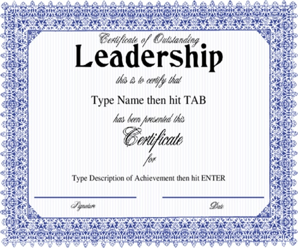 Leadership certificate template 7 free word pdf psd format certificate of outstanding leadership with a formal blue frame design yelopaper Choice Image