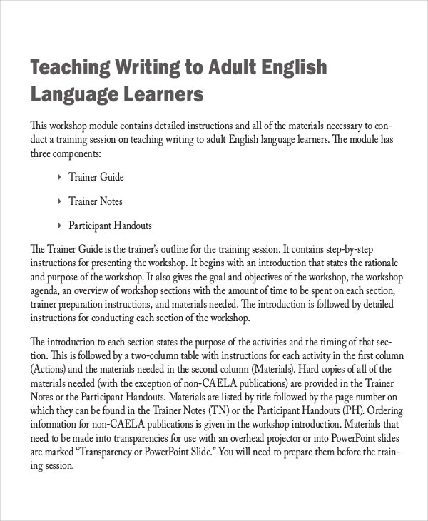 teaching writing to adult english language learners