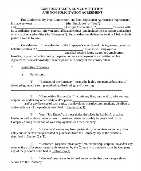 Vendor NonCompete Agreement Template   Free Word Pdf