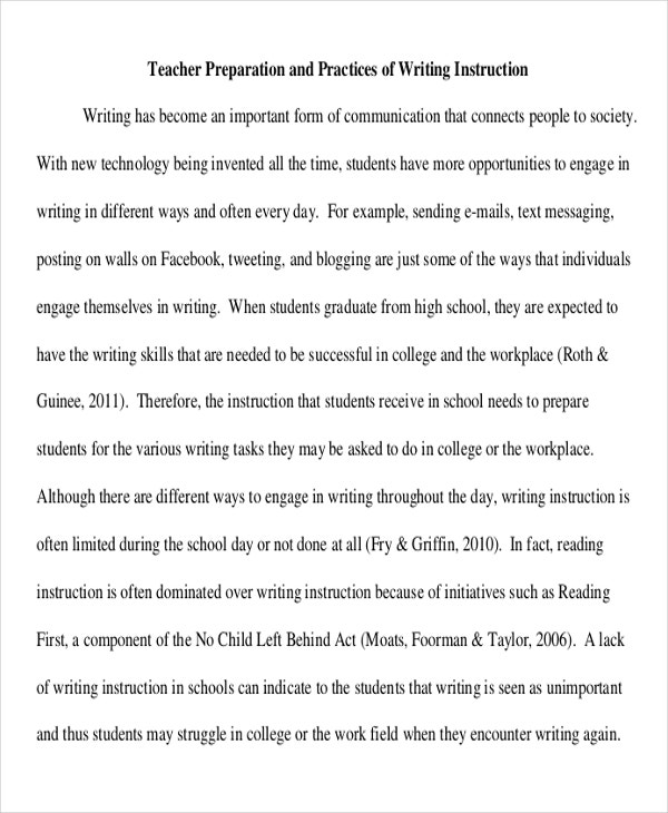 teacher preparation and practices of writing instruction