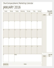 Marketing Calendar Template Download