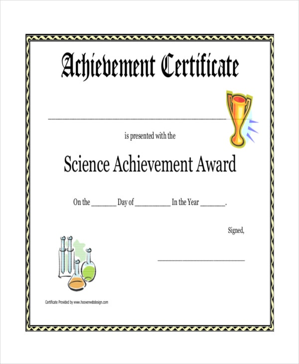 Science Achievement Award Printable Certificate  Printable Certificates Of Achievement