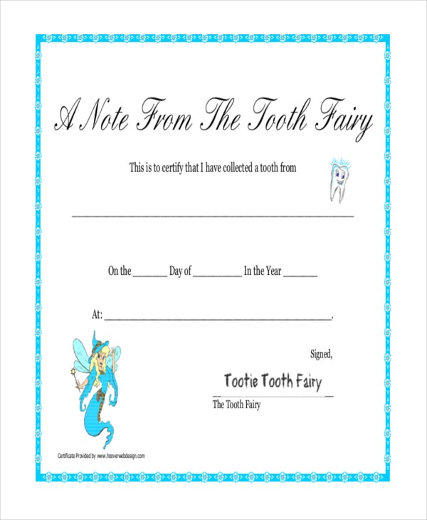 tooth fairy printable certificate template