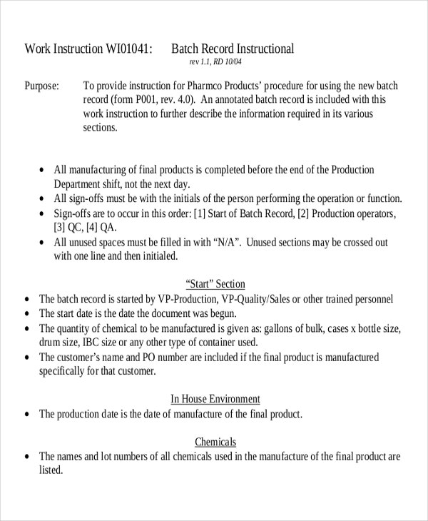 Work Instruction Templates  Free Sample Example Format  Free