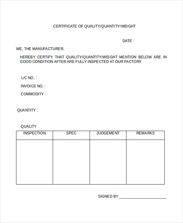 printable quality certificate template