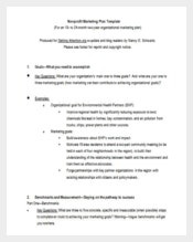Nonprofit Marketing Plan Word Format Free Download
