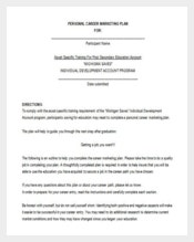 Personal Career Marketing Plan Example Word Free Download
