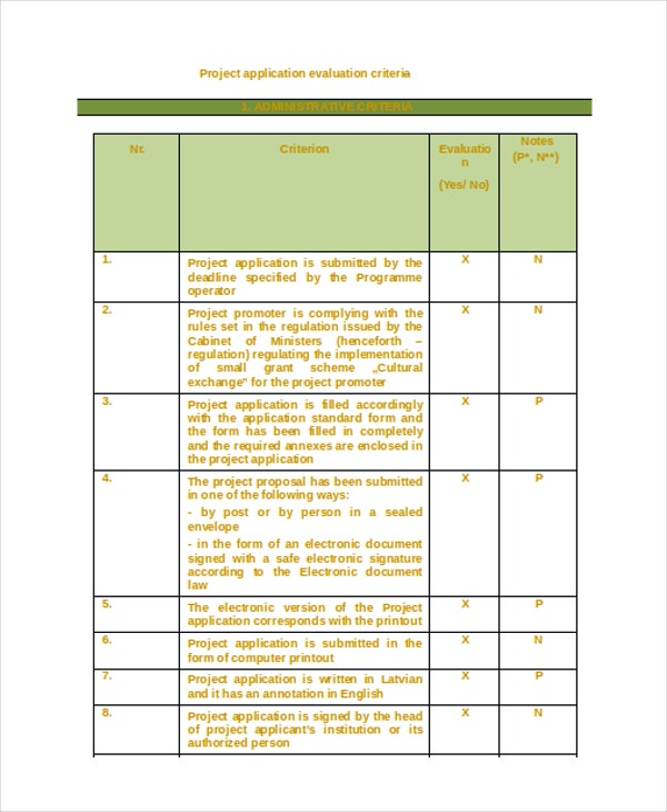 project evaluation criteria template