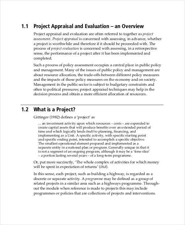 Project Evaluation Template - 7+ Free Word,Pdf Documents Download