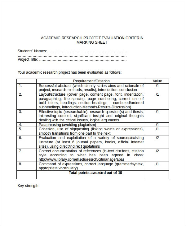 academic research project evaluation template