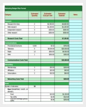 Channel Marketing Budget Templat Plan Format
