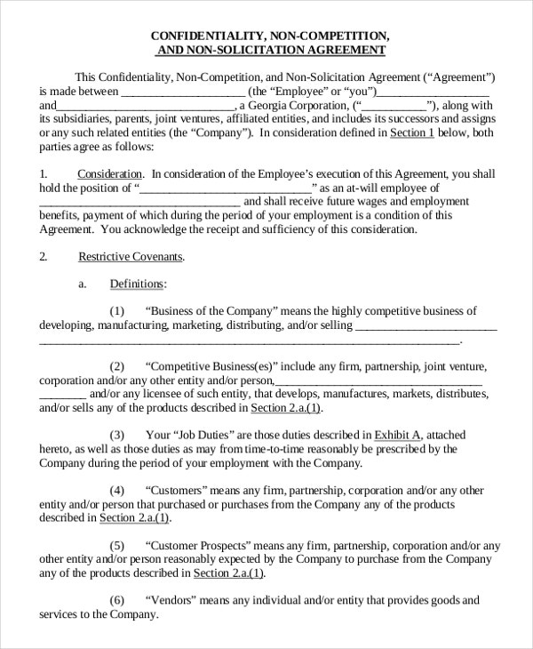 11 Employee Non Pete Agreement Templates Free Sample