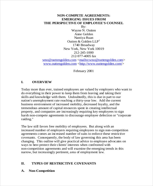11 Employee Non Compete Agreement Templates Free Sample Example