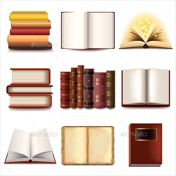 vector books icons set