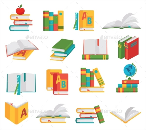 colored school books icons