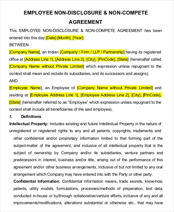 employee non disclosure non compete agreement3