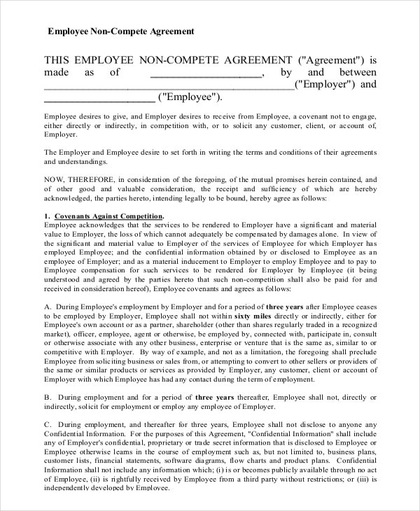 Employee NonCompete Agreement Templates  Free Sample Example
