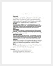 Example Marketing Case Study Analysis Format Template