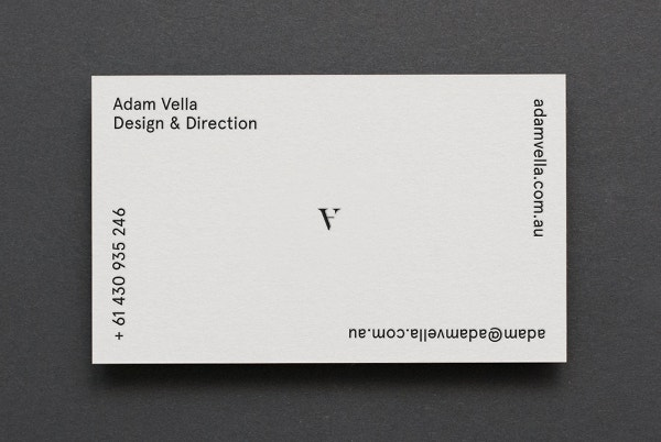 Adam Vella Business Card Design & Direction