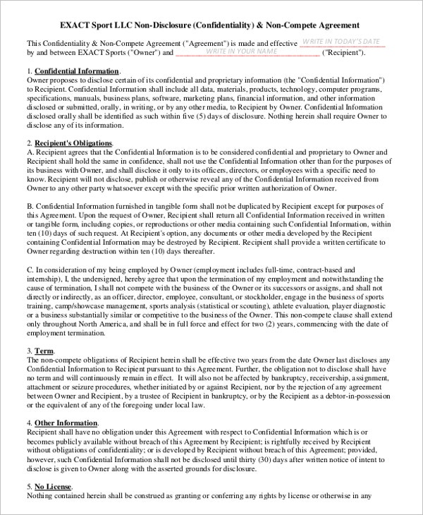 11 General Non Compete Agreement Templates Free Sample Example
