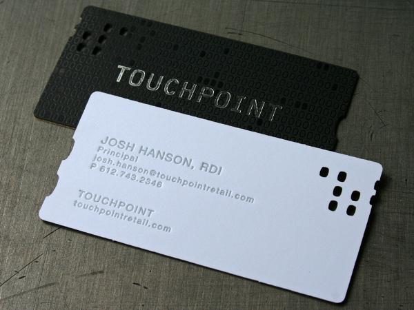 touchpoint foil letterpress caser cut cards design