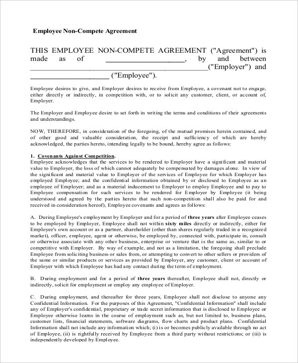 General NonCompete Agreement Templates  Free Sample Example