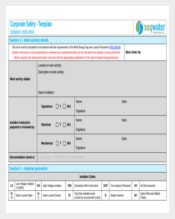 Isolation Work Instruction Template