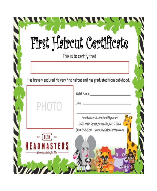 first haircut certificate download