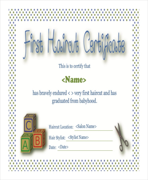 Haircut certificate template 5 free pdf documents download free baby first haircut certificate template yelopaper Gallery