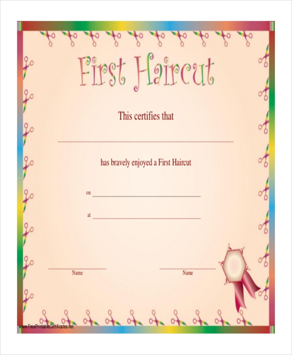 my first haircut certificate template haircut certificate template 5 free pdf documents
