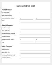 Client Instruction Sheet Template