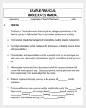 Sample Financial Procedures Manual Template