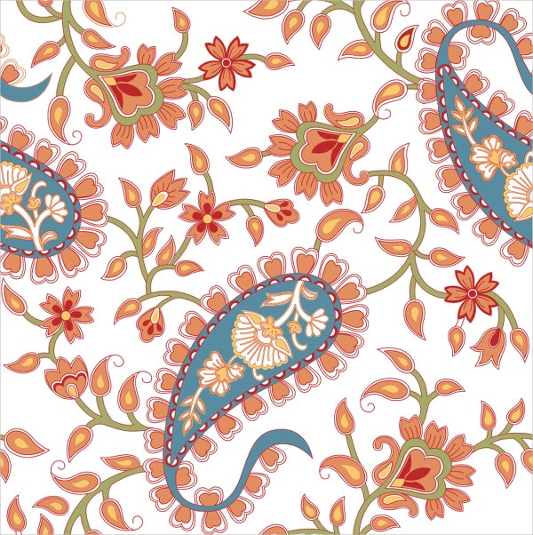 Orange and Blue Paisley Pattern