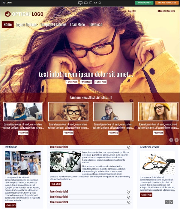 free optical joomla website theme