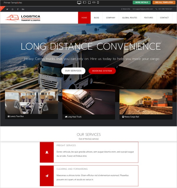 free transport joomla website theme