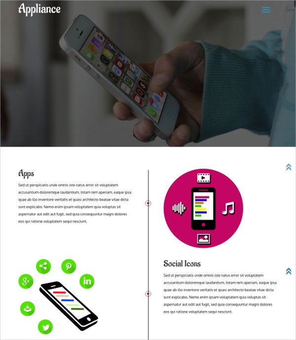 free mobile application html website theme