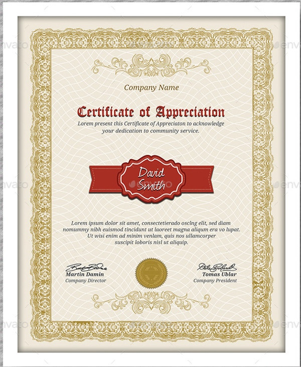 Certificate of appreciation template 24 free word pdf psd company appreciation certificate template yadclub Images