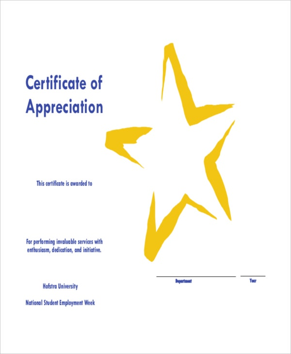 Certificate of Service Appreciation Template