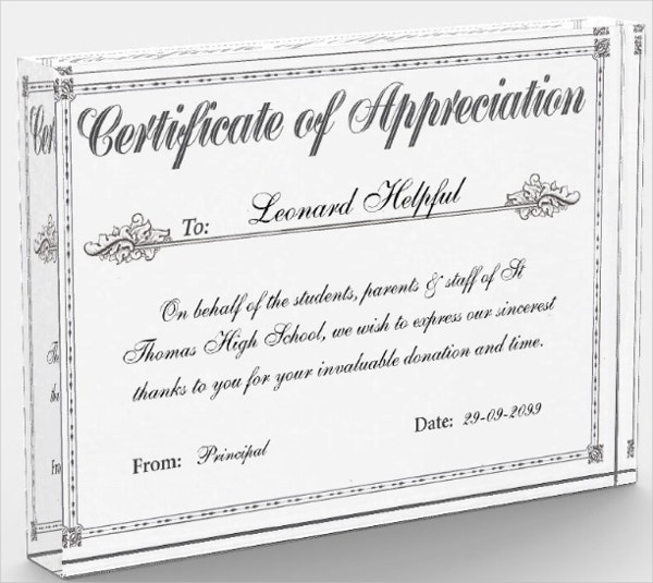 certificate of appreciation personalized award