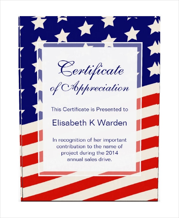 American Flag Certificate of Appreciation Award Template
