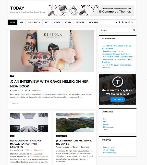 free magazine wordpress website theme