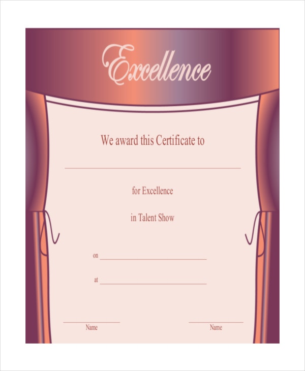 excellence in talent show certificate