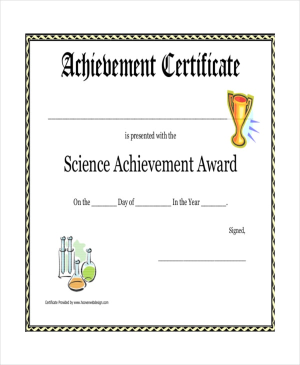 Science Talent Show Achievement Award Certificate