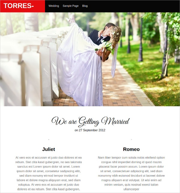 37 Free Wedding Website Themes & Templates | Free & Premium Templates