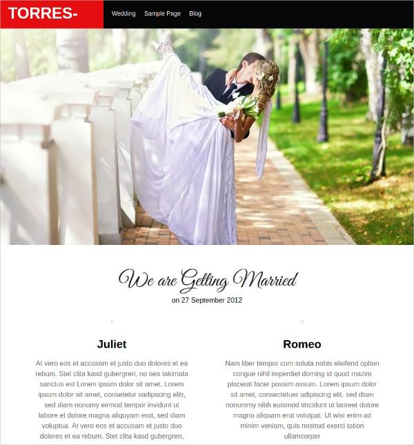 free wedding ceremony website theme