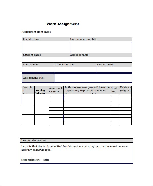 Assignment Sheet Template Copy Log Task Assignment Sheet Template
